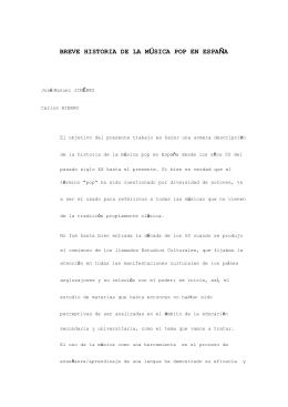 BREVE HISTORIA DE LA MÚSICA POP EN ESPAÑA