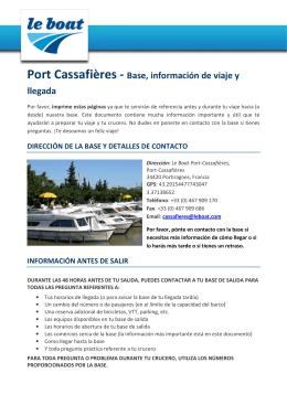 Port Cassafières - Base, información de viaje y llegada