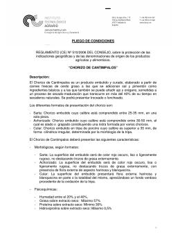 PLIEGO DE CONDICIONES REGLAMENTO (CE) Nº 510