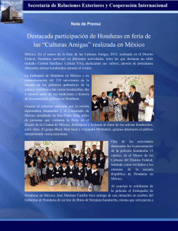 """Destacada participación de Honduras en feria de las """"Culturas"""