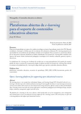 Plataformas abiertas de e-learning para el soporte de contenidos