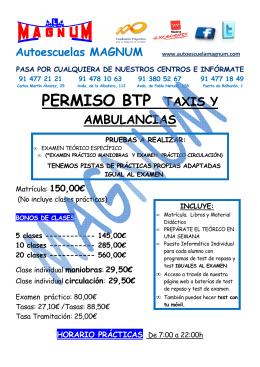 Información Carnet BTP