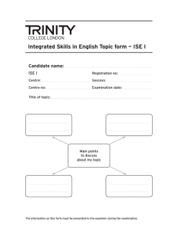 Integrated Skills in English Topic form — ISE I