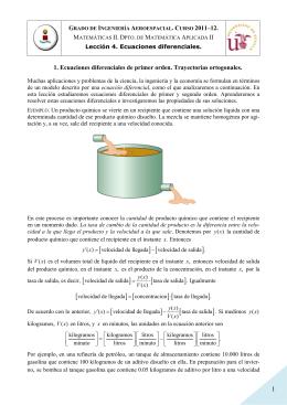 Lección 4. 1. Ecuaciones diferenciales de primer orden.Trayectorias