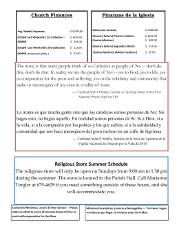 Religious Store Summer Schedule