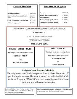 CHURCH OFFICE HOURS Religious Store Summer Schedule