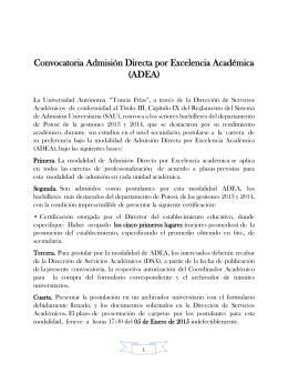Convocatoria Admisión Directa por Excelencia Académica (ADEA)