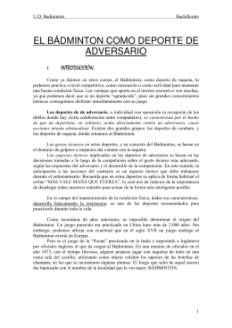 EL BÁDMINTON COMO DEPORTE DE ADVERSARIO