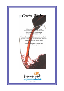 Carta Vinhos site - Thermas Park Resort & Spa