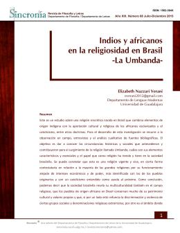 Indios y africanos en la religiosidad en Brasil -La Umbanda