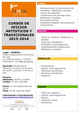 cursos de oficios artísticos y tradicionales 2015-2016