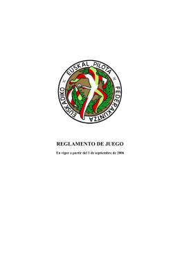 REGLAMENTO DE JUEGO - Federación de Euskadi de Pelota Vasca