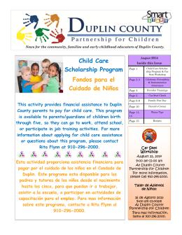Child Care Scholarship Program Fondos para el Cuidado