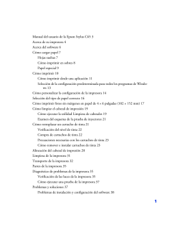 Manual del usuario de la Epson Stylus C65 3 Acerca de su