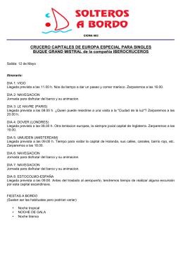 CRUCERO CAPITALES DE EUROPA ESPECIAL PARA SINGLES