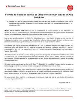 Servicio de televisión satelital de Claro ofrece nuevos canales en