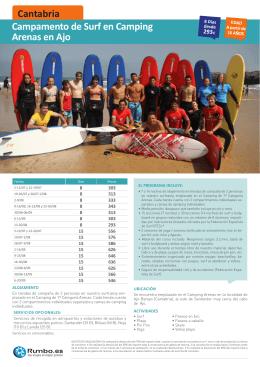 Campamento de Surf en Camping Arenas en Ajo Cantabria