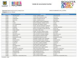 Listado de concursantes inscritos