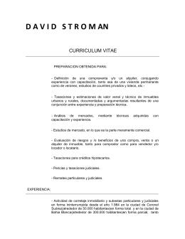 Curriculum Vitae - Inmobiliaria David Stroman