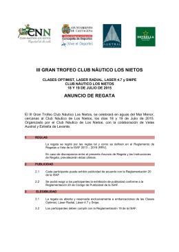 iii gran trofeo club náutico los nietos anuncio de regata