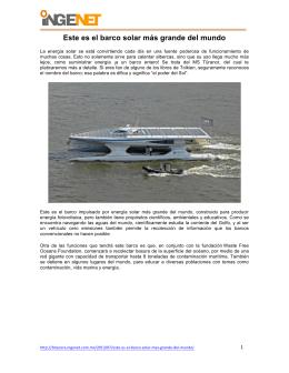 Agosto 15 Este es el barco solar más grande del mundo