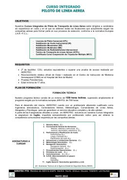 CURSO INTEGRADO PILOTO DE LINEA AEREA