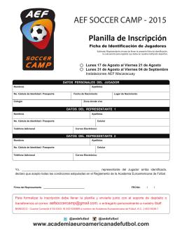 AEF SOCCER CAMP - 2015 Planilla de Inscripción
