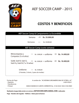 COSTOS Y BENEFICIOS AEF SOCCER CAMP - 2015