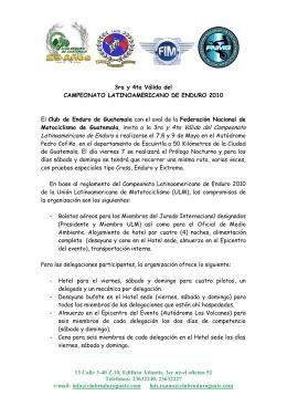 Invitación Oficial Latino Enduro Guatemala 2010