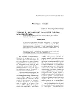 VITAMINA B 12 : METABOLISMO Y ASPECTOS CLÍNICOS