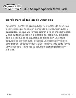 3–5 Sample Spanish Math Task Borde Para el Tablón