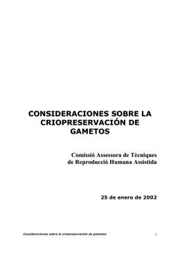consideraciones sobre la criopreservación de gametos