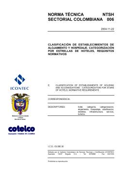NORMA TÉCNICA NTSH SECTORIAL COLOMBIANA 006