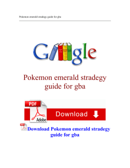 Pokemon emerald stradegy guide for gba