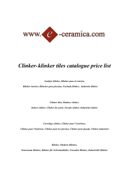Clinker-klinker tiles catalogue price list