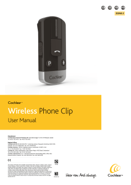 Cochlear™ Wireless Phone Clip Manual
