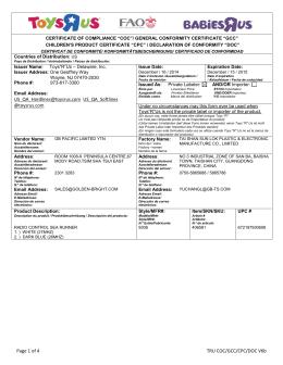 Page 1 of 4 TRU COC/GCC/CPC/DOC V6b