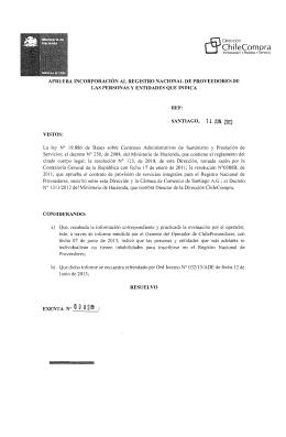 Resolución Proveedores Inscritos Mayo 2013