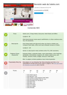 Revisión web de hotels.com