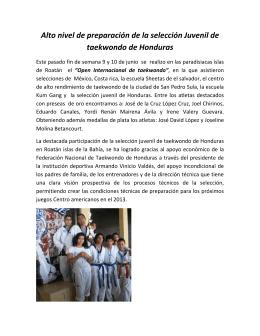Alto nivel de preparación de la selección Juvenil de taekwondo de