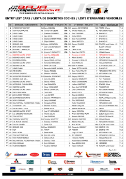 entry list cars / lista de inscritos coches / liste d`enganges vehicules