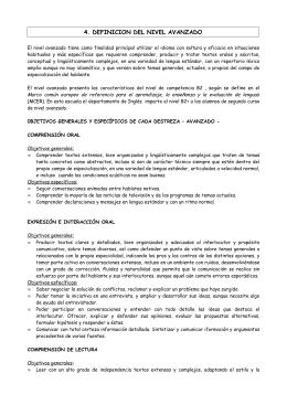 4. DEFINICION DEL NIVEL AVANZADO