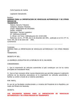 Decreto 383 Normas Para la Importación de Vehículos Usados