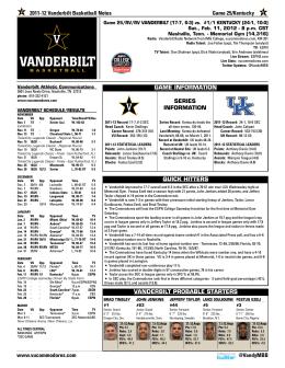 2011-12 Vanderbilt Basketball Notes Game 25/Kentucky www
