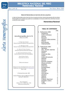 Alerta Hemerográfica Nº 10 - Biblioteca Nacional del Perú
