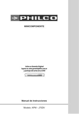 MINICOMPONENTE Manual de Instrucciones Modelo: APM