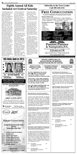 Front Page (Page 1) - South Dade News Leader