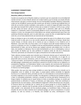 ILUMINISMO Y ROMANTICISMO Hans George Gadamer Descartes
