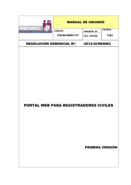 PORTAL WEB PARA REGISTRADORES CIVILES