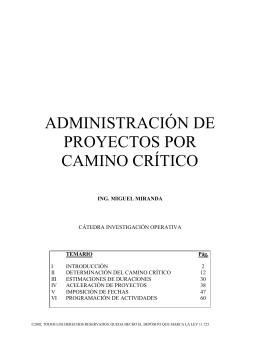 ADMINISTRACIÓN DE PROYECTOS POR CAMINO CRÍTICO